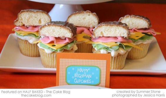 So cute hamburger cupcakes with fondant accents