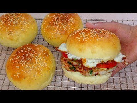همبرجر منزلي من اليوم قولي وداعا للمطاعم طريقة تحضير خبز البرجر ناحج وعمل اقراص الدجاج Youtube Food Chicken Burgers Bread