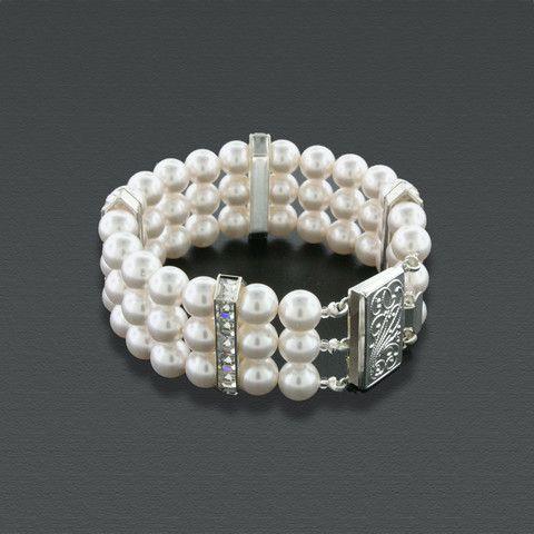 3 Row Pearl Bracelet with Princess Cut Crystals | Giavan, Inc.