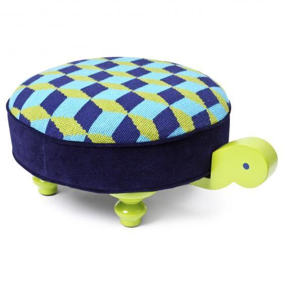Needlepoint Turtle Footstool