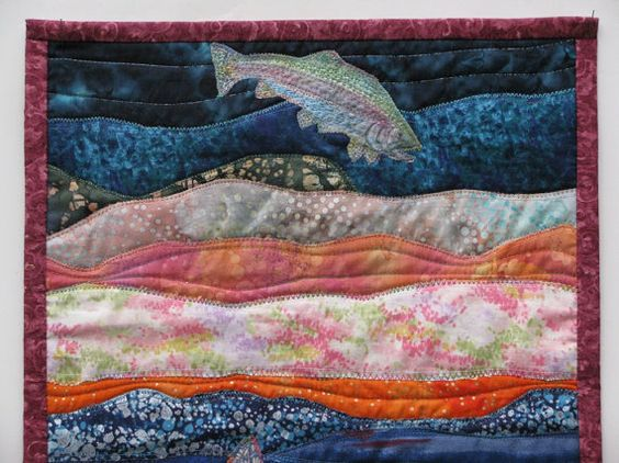 Riverscape Applique Quilted Fiber Art Wall Hanging by cindyrquilts, $275.00