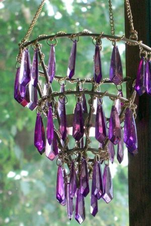 """Three Tier Purple Beaded Hanging Tea Light Candle Holder...OR, maybe just hang some of these """"gems"""" like this from the deck"""
