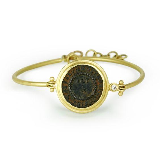 18 Karat Yellow Gold Ancient Roman Coin Bracelet With Diamond Accent