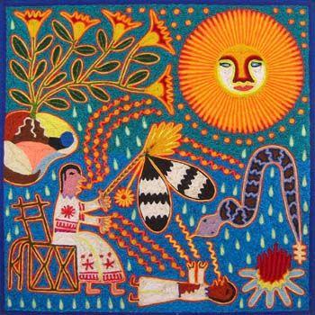 Dibujo tejido de los indígenas huicholes
