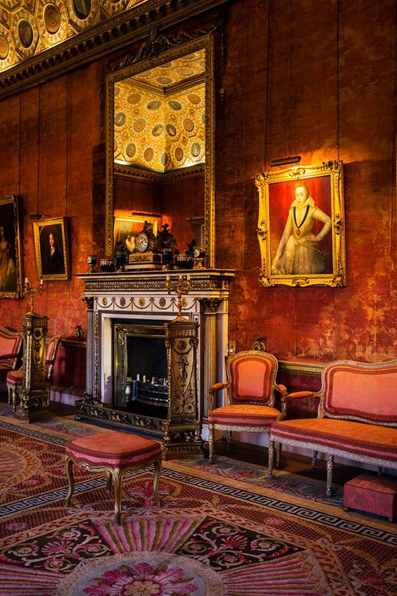Old English Drawing Room: Red Drawing Room, Syon House. Middlesex, England. Designed