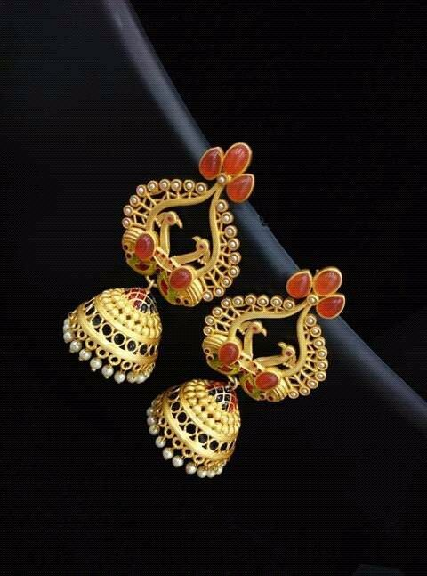 Gold Jhumka design for brides