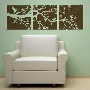 Wall Art - Tree Branch and Birds Three Panel Decals -- 60 inch wide -- Wall Art Home Decors Murals Removable Vinyl Decals Paper Stickers. $32.00, via Etsy.