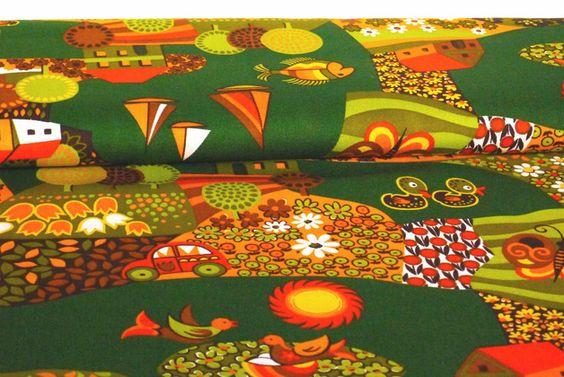 """Kinderstoffe - 70er Stoff Fabric """"Sommerland"""" Dekoplus - ein Designerstück von VintageGoods bei DaWanda"""