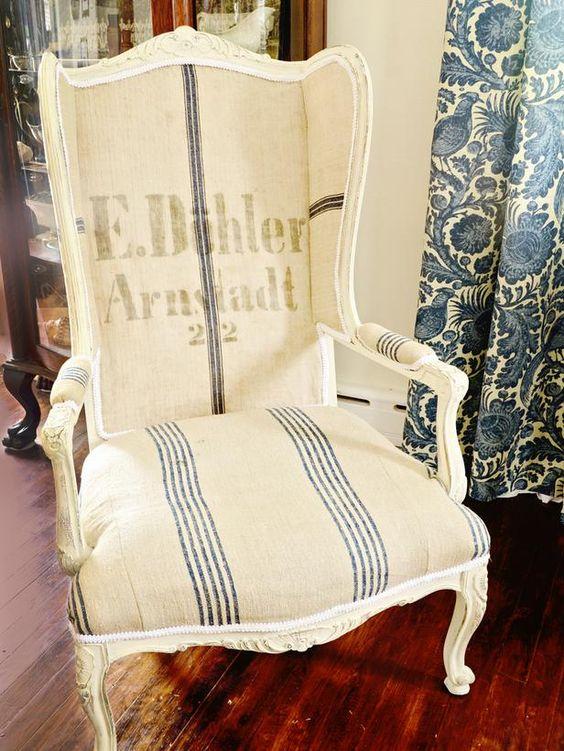Vintage Grain Sacks as Upholstery