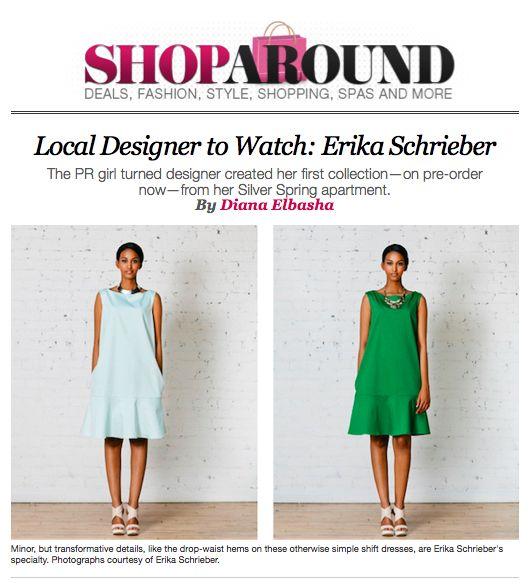 Local Designer To Watch: Erika Schrieber in Washingtonian Magazine's Shop Around Blog. See it all HERE: http://www.washingtonian.com/blogs/shoparound/dc-designers/local-designer-to-watch-erika-schrieber.php