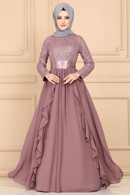 Modaselvim Abiye Firfirli Pul Payet Abiye Ech7307 Pudra Pakaian Jelita Model Pakaian Pakaian Pernikahan