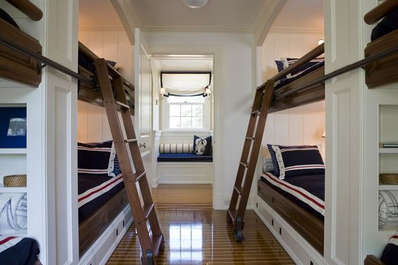 Very cool nautical bunk room. (I also pinned the staircase in this house.) Oyster Harbors - Coastal - Bedroom - Images by SLC Interiors | Wayfair