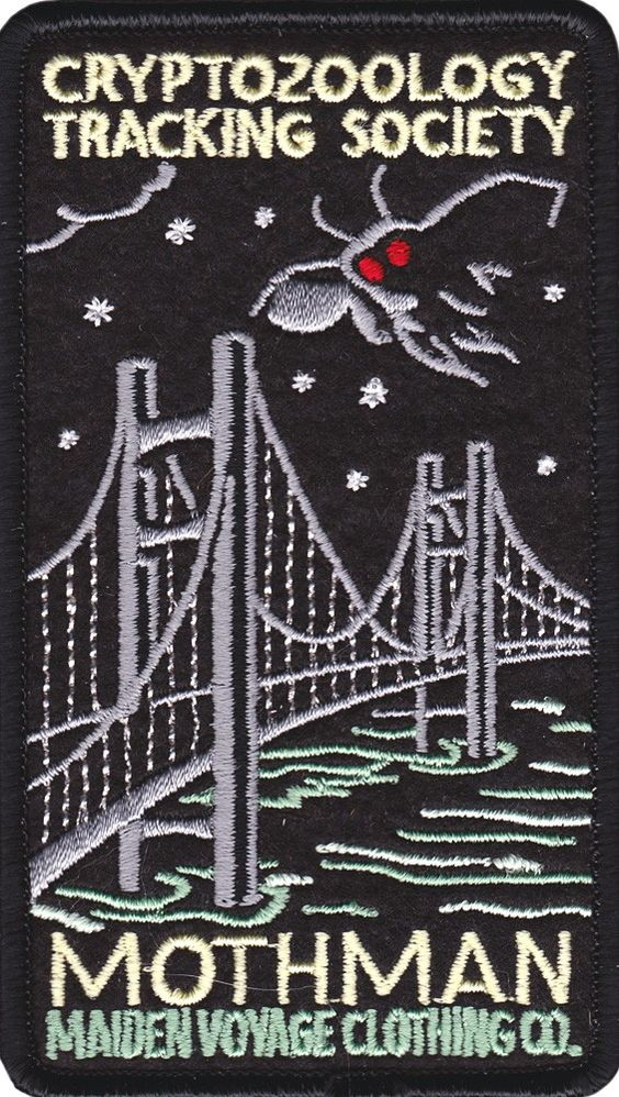 MAIDEN VOYAGE MOTHMAN PATCH Alien? Supernatural manifestation? Unknown cryptid? Maiden Voyage brings you the legendary creature first supposedly seen during the late 60s... have you guessed it? The Mothman has sparked interest in pop culture along with cryptozoologists looking for this mysterious being. Now you can search for the Mothman yourself with your very own embroidered Mothman patch! $6.00 #maidenvoyage #patch #cryptozoology #mothman