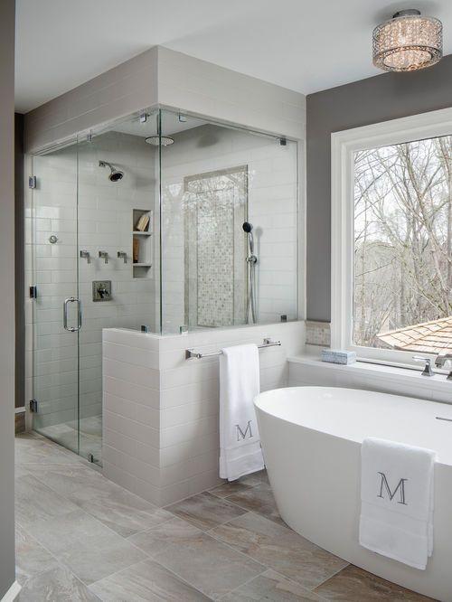 Gray Transitional Master Bath In Roswell Modern Bathroom Remodel Small Bathroom Remodel Designs Small Bathroom Remodel
