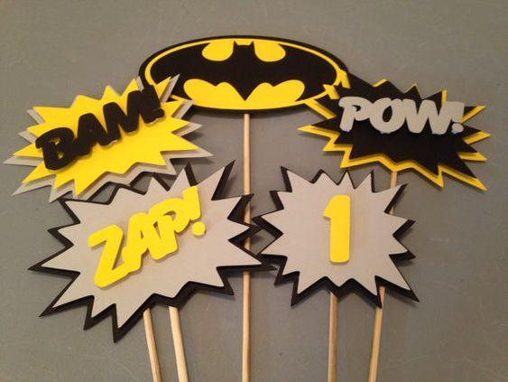 Centro de mesa de Batman 5 pc fiesta de por InspiredbyLilyMarie