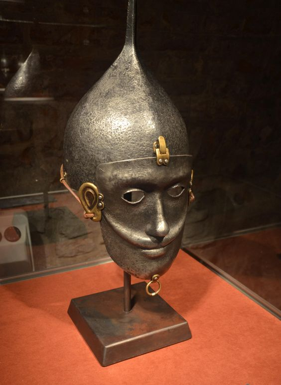 Replica Kiptschakischer mask helmet from the 13th century, Archaeological Museum Krakow.: