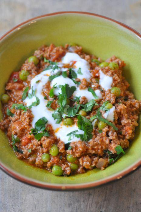 Curry Kemia Matar : viande hachée d'agneau et épices...