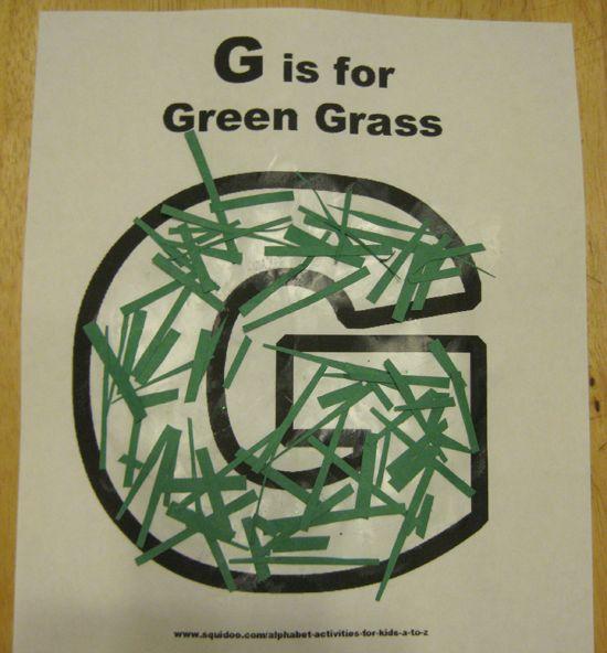 g is for green grass alphabet activites for kids **free worksheet**