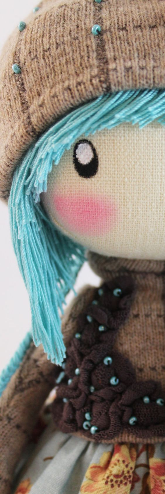 Doll Zooey brown and turquoise rag doll cloth by DollsLittleAngels