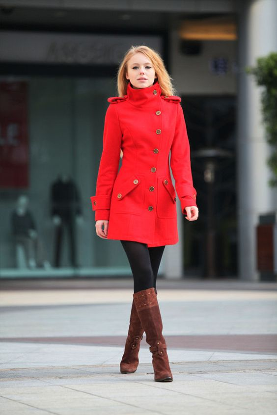 Red Coat Fitted Military Style Wool Winter Coat by Sophiaclothing: