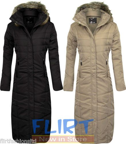Womens Full Length Jacket Ladies Warm Coat Zip Up Faux Fur Hooded