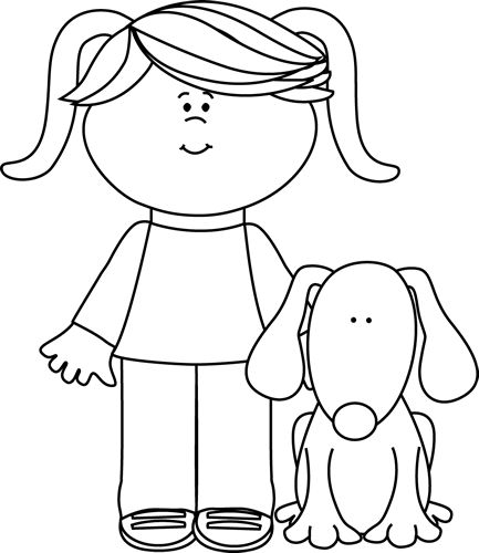 black and white girl with pet dog clip artanimals