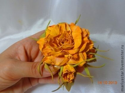 Брошь из иранской замши. - рыжий,брошь,брошь цветок,брошь ручной работы