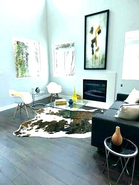Cowhide Rug In Modern Living Room Boho Living Room Cowhide Rug Living Room Rugs In Living Room Cow Rug Living Room