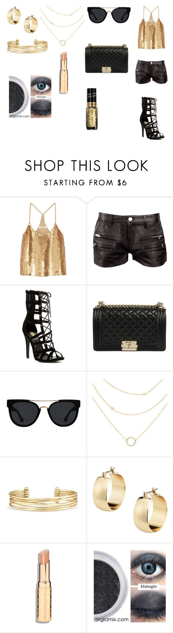"""Gold Lamé"" by colorfulnay on Polyvore featuring TIBI, IRO, Quay, Stella & Dot and L'Oréal Paris"