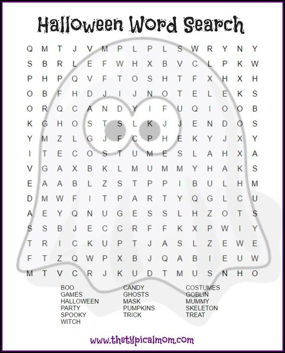Here are several free Halloween word search printables pages you can give your kids or students! LOTS of free Halloween printable pages here. via /thetypicalmom/