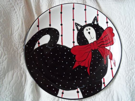 2 PIECE~BOYDS HOME COLLECTION~HERE KITTY~COFFEE MUG & PLATE~Black Cat~ | eBay