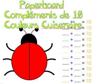 Coccinelle de dénombrement,  suite des nombres, compléments de 10 et ...