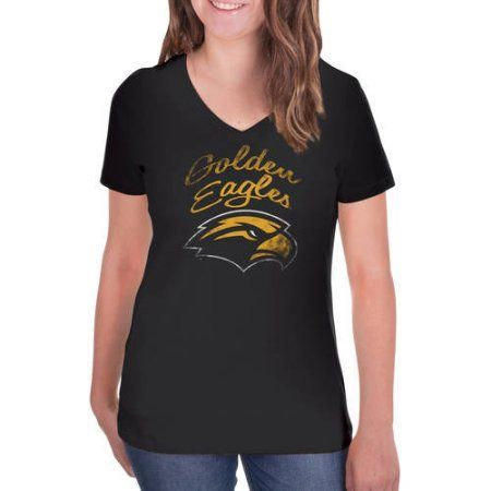 Ncaa Southern Miss Golden Eagles Women's V-Neck Tunic Cotton Tee Shirt, Size: Medium, Black