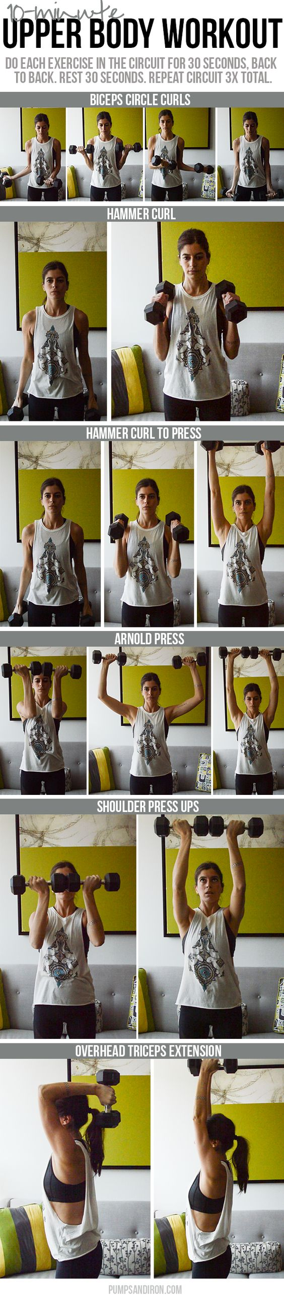 10-minute upper body workout using dumbbells