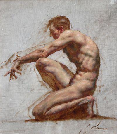 Robert Liberace | Kneeling figure, oil on panel, 2012