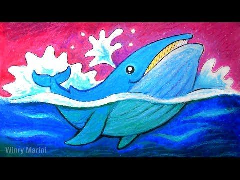 Let S Draw A Blue Whale With Oil Pastel Whale Coloring Pages Blue Whale Drawing Whale Drawing
