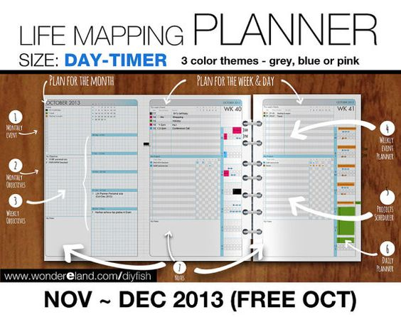 1 2 letter nov to dec 2013 free oct life mapping planner refills day timer filofax