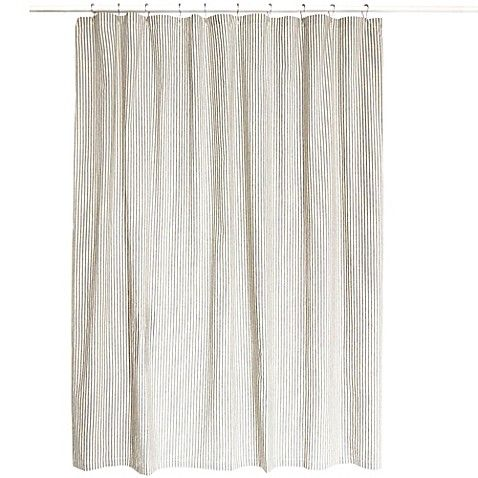 Farmhouse Ticking Stripe Shower Curtain In Creme Black Striped