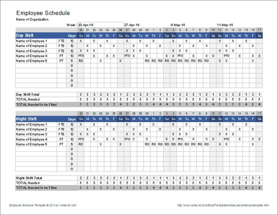 Download the Employee Schedule Template from Vertex42 - construction work schedule templates free