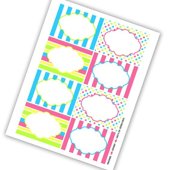 Rectangle Editable Pdf 8x10 Candy Store Labels