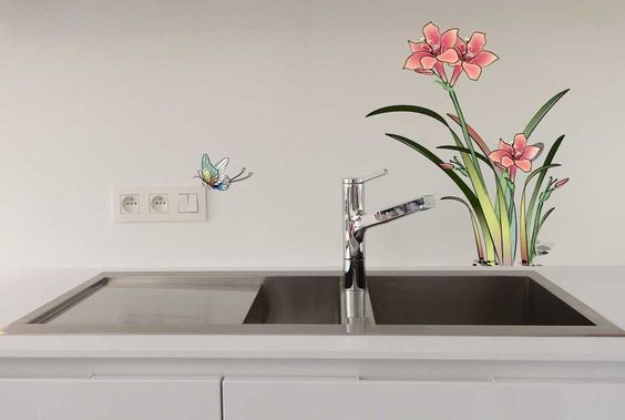 http://Amazon.com - YYone Narcissus and Butterflies Wall Sticker Kitchen or Bathroom Decor -