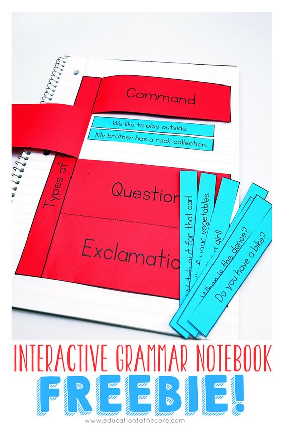 Interactive Grammar Notebook FREEBIE for types of sentences! Interactive notebooks are a great way to implement grammar and language arts standards for primary students!