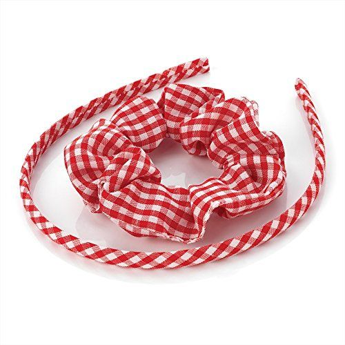 Gingham Alice Bands Red