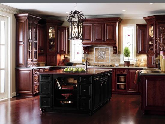 Islands countertop materials and hardware on pinterest for Cherry wood kitchen cabinets