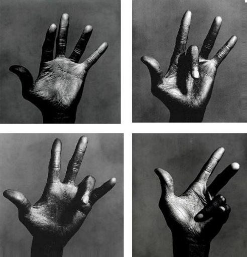Miles Davis hands by Irving Pen