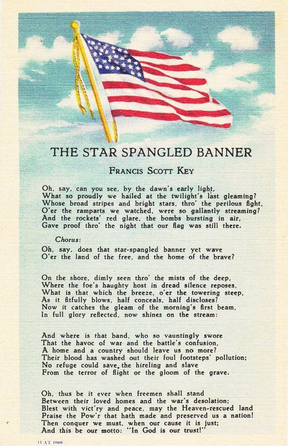 The Star Spangled Banner- Francis Scott Key- National Anthem- 1940s Vintage Postcard