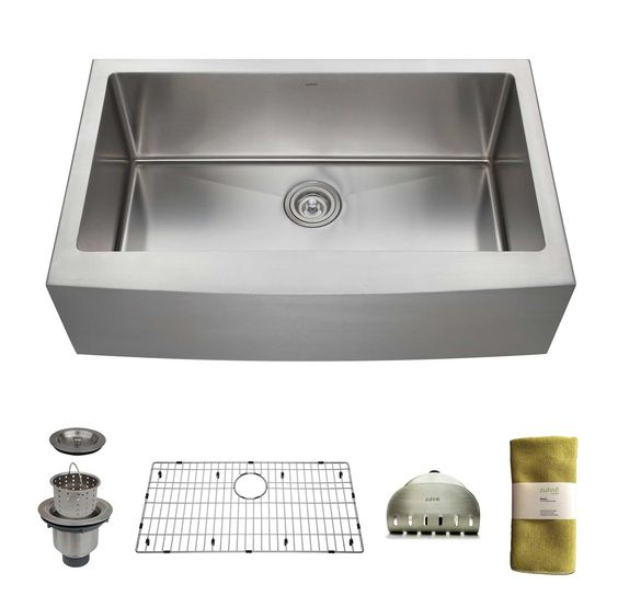 Zuhne 33 Inch Farmhouse Apron Deep Single Bowl 16 Gauge Stainless Steel Luxury Kitchen Sink - - Amazon.com