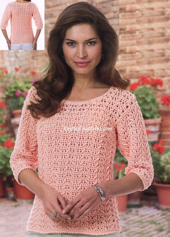 Crochet Textured  Top THIS SITE ALSO HAS A WOVEN SKIRT PATTERN--NO PIN BUTTON: