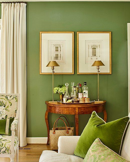 Tour A Nashville Home That Glows With Color Charm Living Room Green Classic Interior French Country Living Room #sage #green #and #navy #blue #living #room