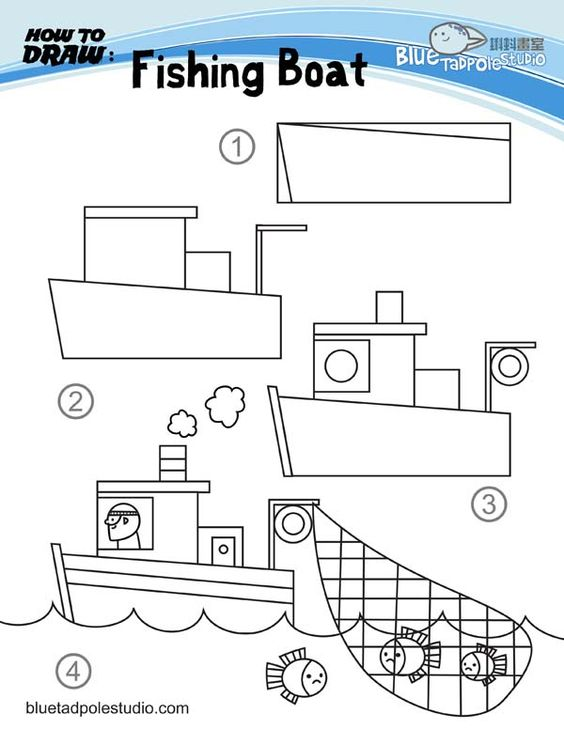 how to draw fishing boat and lots of other how to draw